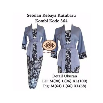Stelan Kebaya Kutubaru Motif Paya Grey REady Size M L Dan XL