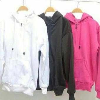 Sweater Hoodie Zipper Polos Putih Hitam Pink