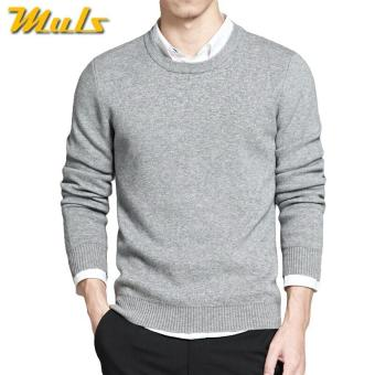 Sweater Pria O Neck Grey Cotton Premium