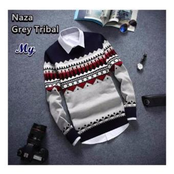 sweater pria rajut-NAZA GREY TRIBAL-rajut terbaru-Sweater tribal