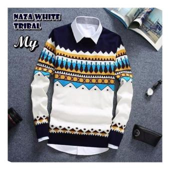 sweater pria rajut-NAZA TRIBAL WHITE-rajut terbaru-Sweater tribal