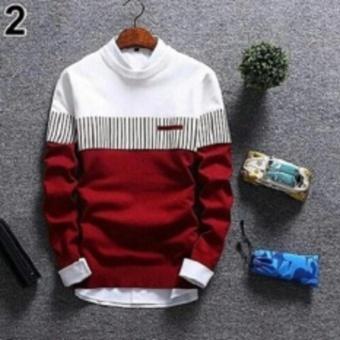 Sweater Pria Rajut - Zico Sweater - Rajut Tribal - Merah
