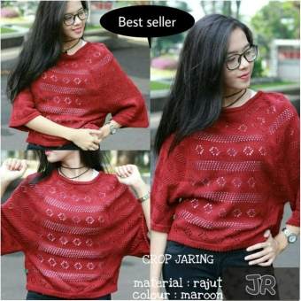 Sweater Rajut Cewe Crop Jaring Maroon Best Seller