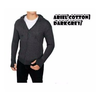 sweater rajut pria -ARIEL COTTON DARKGREY-rajut tribal