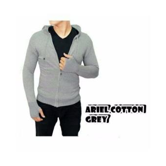 sweater rajut pria -ARIEL COTTON GREY-rajut tribal