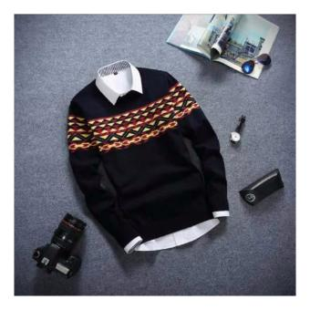sweater rajut pria -WILY BLACK TRIBAL-rajut tribal