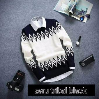 sweater rajut pria -Zeru black tribal-rajut tribal