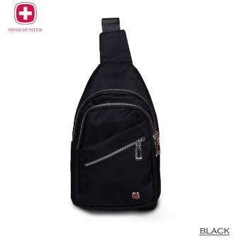 Swiss Hunter - Indiana Man Sling Bag IMP With Silver Zipper 9781 - Black