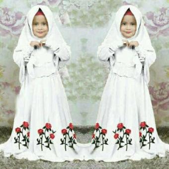 [Syari Anak Marsha Putih SW] Baju Muslim Anak Perempuan Jersey Putih