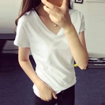 Mengqifu Kaos Wanita Pas Badan Kerah V Lengan Pendek Banyak Warna (8002 putih)