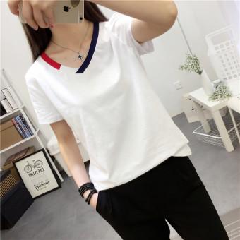 Mengqifu Kaos Wanita Pas Badan Kerah V Lengan Pendek Banyak Warna (8012 putih)