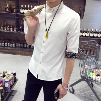 Info Harga Tampan Korea Fashion Style Pria Slim Mahasiswa Lengan Pendek Kemeja Lengan Baju
