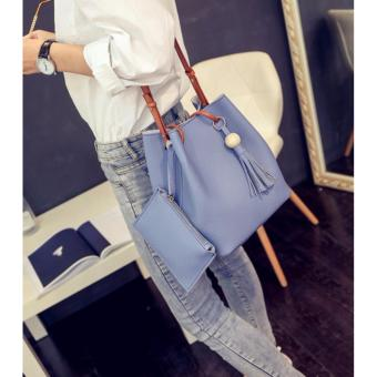 Tas 2in1 DRAWSTRING Women Fashion Bag Tassel Bucket Leather Korean Tasel Handbags Shoulder Bags - BIRU
