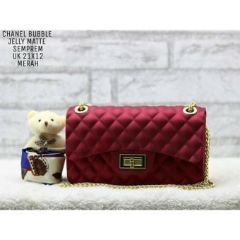 Tas Fashion Dewasa dan Remaja JELLY IMPORT CLASSIC 22cm(RED maroon)