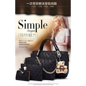 Tas Fashion Wanita - High Quality Korean Style 4in1 - Hitam .