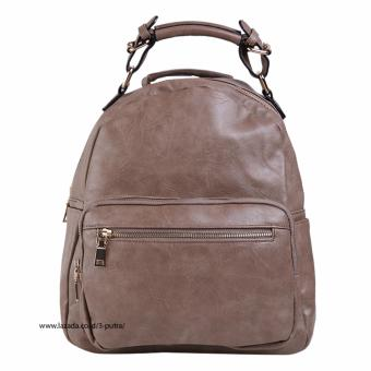 Tas Fashion Import / Tas Ransel wanita / Backpack Wanita / Tas Santai / Travel BackPack - Wanita ( 3P 27062 Fashion Leather Backpack ) - Camel