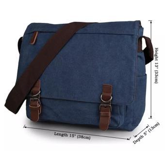 Tas Selempang Kanvas Laptop Pria - Blue - Tas Kerja - Tas Sekolah - Tas  Kuliah d53a6b1ff3
