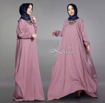 TERLARIS  Kalea dusty pink GZ  gamis wanita wolly crepe dusty pink   baju  muslim 50b8d8454a