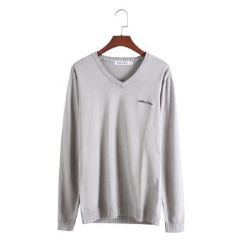 Thanksgiving Korea Slim pria v-neck merajut sweater (Dalam abu-abu)