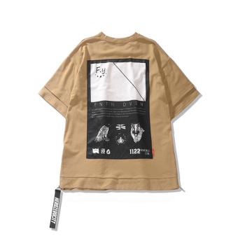 Tide merek di Eropa dan Amerika asli palsu dua lengan pendek t-shirt (Beige) (Beige) ...