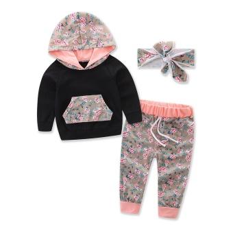 Balita Gadis Pakaian 2017 Musim Gugur Bayi Gadis 3 Pcs/set Lengan Panjang Hooded T