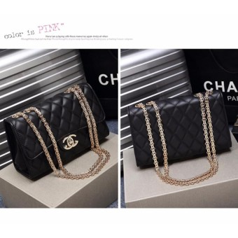 Top Quality Classical Quilted MANGO Bag Fashion Chain Shoulder Bag PU Leather Sling Bag(Black