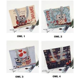 Tote Bag Wanita Motif Owl