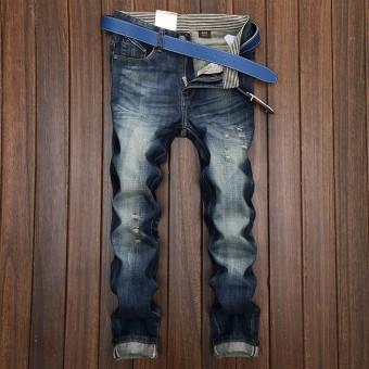 Celana Jeans Pria Lurus Berlubang Gaya Jepang (016 Model) (016 Model)