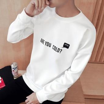 Tren Ramping Pada Siswa Pria Kaos Sweater Musim Gugur Lengan Panjang Kaus (T01 Putih Bahasa