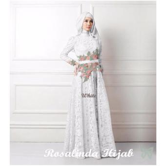 Trend Baju - Maxi Brukat Lapis Furing Bordir Uk L - White