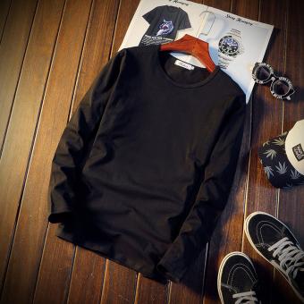 Trendi Pria Korea Fashion Style Siswa Slim Leher Bulat Pullover Lengan Panjang T-shirt Pria