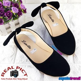 Trendi Sepatu Flat Shoes Wanita Double Suede Tali Belakang Pita LNPTBLK