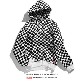 Trendi Kaos Sweater Tambah Beludru Hitam atau Putih Hoodie Panggul Hop Musim Gugur atau Musim Dingin