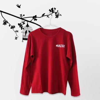 Tumblr Tee / T-Shirt / Kaos Wanita Anjay - Maroon Lengan Panjang
