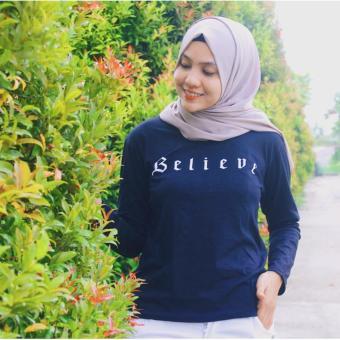 Tumblr Tee / T-Shirt / Kaos Wanita Believe - Hitam Lengan Panjang