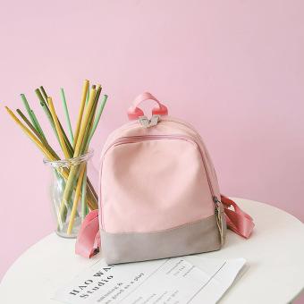 Ulzzang Kasual Memukul Warna Kanvas Tas Punggung Kecil Mini Tas Bahu (Merah Muda Warna)