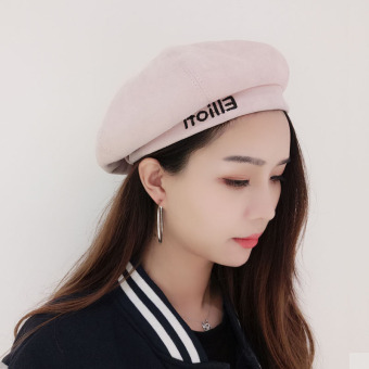 Ulzzang surat baret topi (Ellioh huruf baret topi-merah muda)