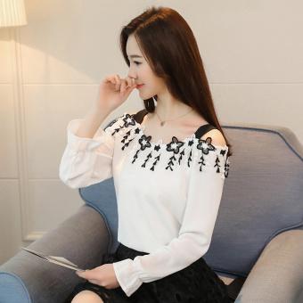Usaha Korea Modis Gaya Baru Wanita Lengan Panjang Jersey Rayon Baju Dalaman Atasan (Putih)