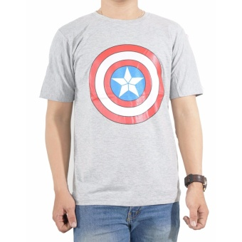 Vanwin - Kaos T-Shirt Distro Premium Captain Shield - Abu