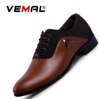VEMAL Pria Kasual Menunjuk Kulit Sepatu Bisnis Sepatu Gaun Gaya Inggris Lace-up Formal Sepatu Coklat-Intl ...