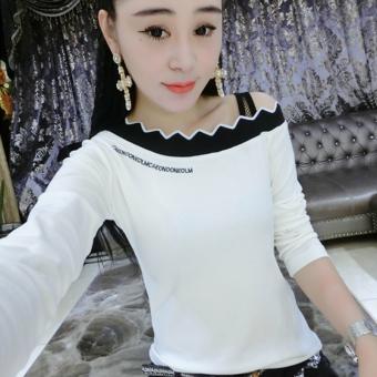 Versi Korea bordir huruf baru t-shirt (Putih)