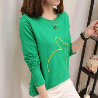 Versi Korea dari bordir baru longgar t-shirt bottoming kemeja (Hijau)