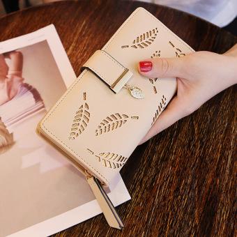 Tas Genggam Wanita Model Panjang Daun Berongga Versi Korea (Khaki)