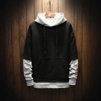 LOOESN Korea Fashion Style laki-laki baru remaja pria sweater hoodie pullover (Hitam)