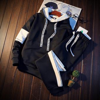 Versi Korea dari laki-laki lindung nilai Slim olahraga kasual sweater (Hitam )