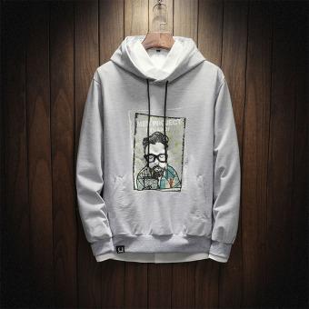 Versi Korea dari Lindung Nilai Berkerudung Modis Pria Mantel Pria Sweater (Abu-abu)