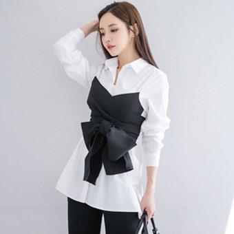 Korea Fashion Style Baru Wanita Lengan Panjang Rompi (Putih) (Putih) baju wanita