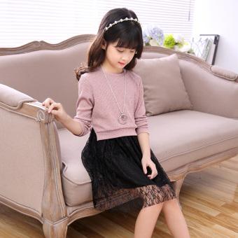 Versi Korea dari rajutan anak perempuan baru garis pakaian (Merah muda)