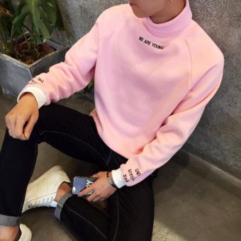Musim Gugur atau Musim Dingin Korea Gaya Busana Siswa Laki-laki Leher Bulat Kaus Kerah