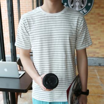 Kaos Oblong Pria Lengan Pendek Bergaris Besar Sederhana Dan Elegan Model Jepang (Lintas bergaris pendek